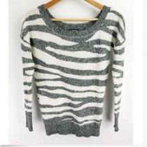 Express Womens Sweater Gray White Asymmetrical Pattern Ls Wool Mohair Size Xs Photo