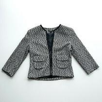Express Womens Sz 2 Black White Shrug Sweater Tweed Cardigan Jacket With Pockets Photo