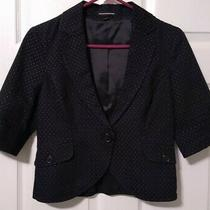 Express Womens Sz 6 Lined Black Polkadot Fitted Cotton Blazer  Euc Photo