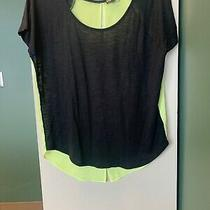 Express Womens Sz Small Black/yellow Color Block Short Sleeve Top Open Back Nwot Photo