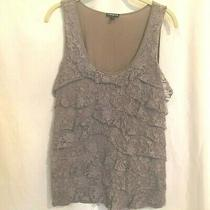Express Womens Tank Top Large Lavender Gray Tiered Lace Front Cotton Blend Photo