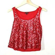 Express Womens Tank Top Size S Red Crop Top Casual Holiday Cheer Casual Glamour  Photo