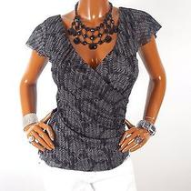 Express Womens Top M Sexy Low Cut Summer Blouse Casual Shirt Metallic Black Gray Photo