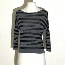 Express Womens Top Xs Gray Black Striped 3/4 Sleeve Comfortable Lightweight Photo