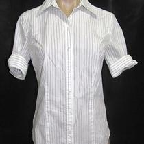 Express Womens White Black Striped Short Sleeve Button Down Shirt Blouse Size 6 Photo