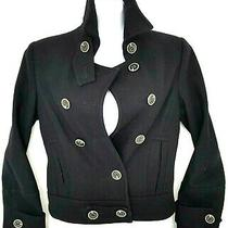 Express Womens Wool Blend Jacket Lined Black Military Moto Peacoat Size S Photo