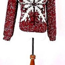 Express Wool Blend Hand Knit Snow Flake Sweater Size S Photo