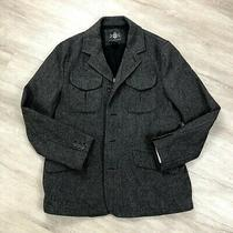 Express Wool Trench Coat Mens Size Large Gray Long Sleeve Button & Zip Closure Photo