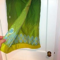 Express World Brand 100% Silkwrap Around Long Green Yellow Beaded Tie Skirt Photo