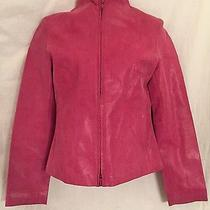 Express World Brand Dark Pink Textured Lined Leather Jacket Size 1/2 Photo