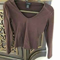 Express World Brand Long Sleeve v-Neck Shirt Sweater Size Xs Brown Vintage Photo