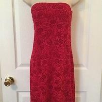 Express World Brand Size 7/8 Strapless Red Floral Dress Fully Lined W/ Shelf Bra Photo