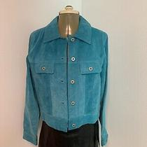 Express World Brand Turquoise Suede Leather Jacket Size M Photo