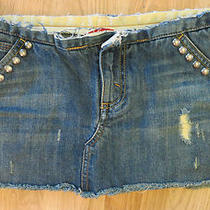 Express X2 Denim Laboratory Frayed Raw Edge Studded Micro Mini Skirt 4  Photo