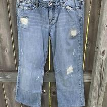 Express X2 Jeans Denim Lab Size 8 Medium Blue Distressed Boyfriend Cropped Pants Photo