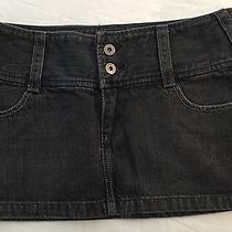 Express X2 Solid Blue Denim Jean Mini Skirt Size 2 Photo