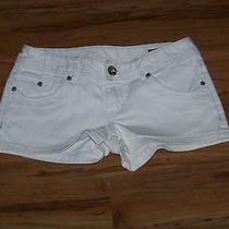 Express X2 White & Silver Denim Shorts Size 0 Super Cute Photo