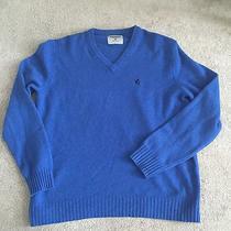 Express Xl Men's 100% Lambs Wool v-Neck  Blue Sweater W/ Logo Photo
