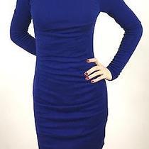 Express Xs High Neck Long Sleeve Royal Blue Dress Photo