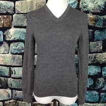 Express Xs Modern Fit Extra Fine Merino Wool v-Neck Sweater Heather Black Photo
