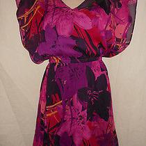 Express Xs Purple Pink Vibrant Floral Sheer Kimono Lined Dress Disco Retro Xs Photo
