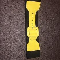 Express Yellow Black Patent Leather Wide Belt Large L Photo