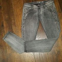 Express Zelda Slim Fit Ultra Low Rise Jean Legging With Embellishments Size 8.  Photo