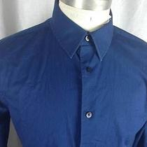 Express1mx Solid Navy Blue Fitted/slim Fit Shirt Medium M Photo