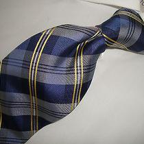 Exquisite Blue Plaid Modern Tommy Hilfiger 100% Silk Tie. Photo