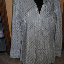 Exress Womens Button Down Gray Black & White Size  Xl Dress Shirt.  Polka Dot Photo