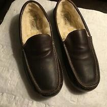 Extra Nice Men's Ugg Leather Slippersbrown Size 13 Sheepskin Linedsee Photos Photo