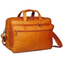 F-Dk-106t David King Leather Double Top Zip Laptop Case Briefcase Bag - Tan Photo