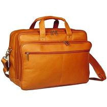 F-Dk-106t David King Leather Double Top Zip Laptop Case Briefcase Bag - Tan Photo