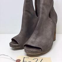 F26 Jeffrey Campbell Oath Grey Suede Peep Toe Booties Women's Size 9 M Photo