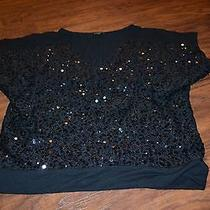 F3- Express Black Sequined Front Short Sleeve Top Size Small Photo