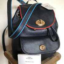 Fab 295 Coach Mini Turnlock Backpack Travel Rucksack Navy Leather F37789 New Photo