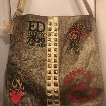 Fab 7829 Ed Hardy Melrose Metallic Gold Canvas Xl Crossbody Messenger Bag Photo