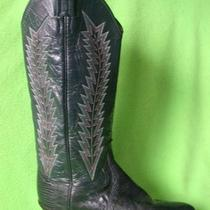 Fabbluelizardpanhandle Slimtallfancy Stitchleatherwestern Boots 6 1/2 B Photo