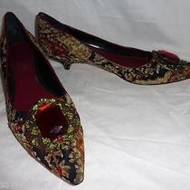 Fab Enzo Angiolini Tapestry & Leather Kitten Heel Big Jewel Pumps Shoes--9.5 Photo