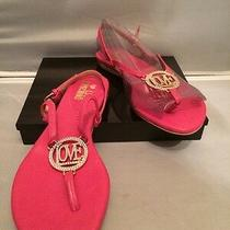 Fab Love Moschino Pink Flat Open Toe Thong Straps Leather Sandals Size 7 Us Photo