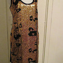 Fab See by Chloe Gold Sequin X Sheer Black Club Cocktail Shirt Dress    Photo
