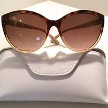 Fab Valentino Brown to Beige Gradient Scalloped Corner Cat's Eye Sunglasses  Photo