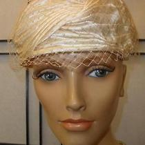 Fab Vtg 50s 60s Nude Blush Satin Pleated Halo Crown Net Pillbox Drum Party Hat Photo