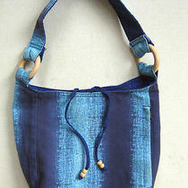 Fabric Cotton Tote Shopper Women's Girls Baguette Bag Handbag Hobo Blue Photo