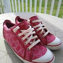 Fabulous Coach Barrett Size 8.5 Signature Logo Canvas Fabric Sneakers Shoes Red Photo