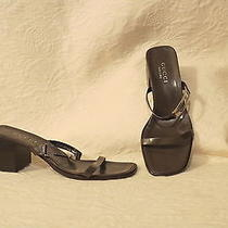Fabulous Genuine Gucci Brown Leather  Sandals Silver Metal Logo Strappy Size 8 B Photo