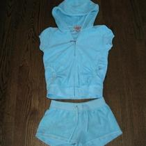 Fabulous Juicy Couture Aqua Terry Shorts & Hoodie Jacket Set Outfit 7 Photo