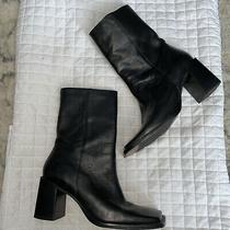 Fabulous Steve Madden Black Leather Square Toe Stacked Heel Boots Size 7 Photo