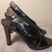 Fabulous Theory Pewter Open Toed Heels Size 38 8m Photo