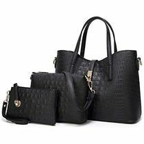 Fadpro Women Shoulder Bags Tote Satchel Hobo Handbags 3pcs Purse Set - Black Photo